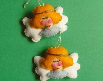 Two Miniature Felt Angel Ornaments