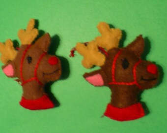 Two Miniature Reindeer Felt Ornaments