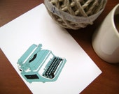 Blue Typewriter Clipart ------------- for card making, digital scrapbooking,graphic design and paper goods
