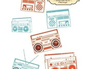 Colorful Vintage Radio, Clip Art for card making, digital scrapbooking,graphic design and paper goods