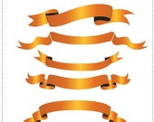 Orange Elegant Banners--- Digital Clip Art for wedding invitations, baby shower, cards and more
