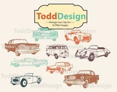Vintage Cars -- Digital Clip Art for wedding invitations, baby shower, cards and more