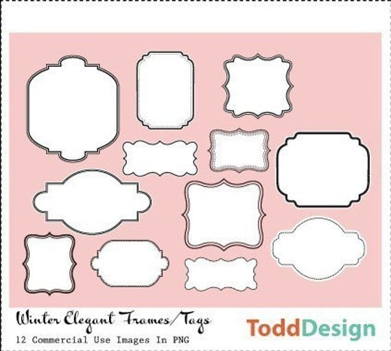 Winter Elegant Frames/Tags--- Digital Clip Art for wedding invitations, baby shower, cards and more
