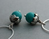 Little Acorn Earrings - Sterling Silver Egg-Shaped Hoops with Turquoise and Sterling Silver Bead Caps - Limited Edition