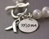 "Custom Order for Smaragda - Two White Pearl and Silver Ribbon Lung Cancer Awareness Bracelets with Stamped ""Mom"" Disc"