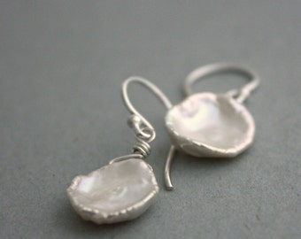 Glamorous Keishi Pearl Earrings - Jumbo White Keshi Pearls and Sterling Silver Earrings - Limited Edition