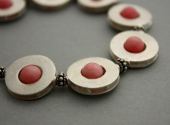 Think Pink Bracelet - Sterling Silver Frame Beads and Pink Round Coral Bracelet