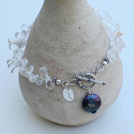 Peacock Pearl and Rock Crystal Teardrop Set (Bracelet and Earrings)