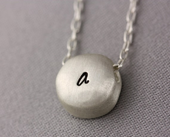 Custom Order for Heather - Personalized Stamped Silver Nugget Necklace - Sterling Silver Chain, Nugget Charm - Personalized with Initial