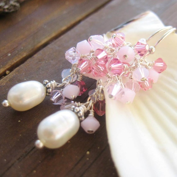 Think Pink Earrings Part II - Pink Swarovski Crystals, White Pearl and Sterling Silver Earrings