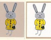 Miss Rabbit : Screenprinted Blank Cards