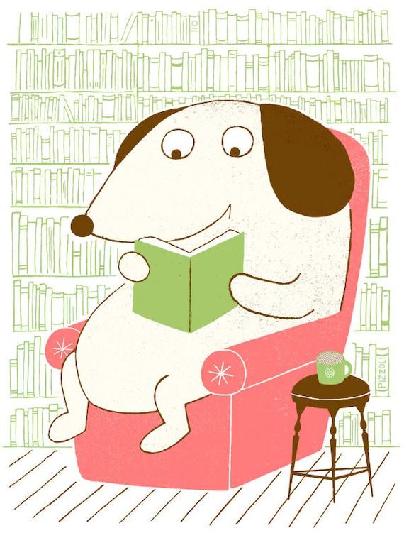 Dog Reading Screenprint