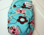 LAST ONE Girly Skulls Night Time Fitted Cloth Diaper for a Newborn Super Nights made with Bamboo Velour