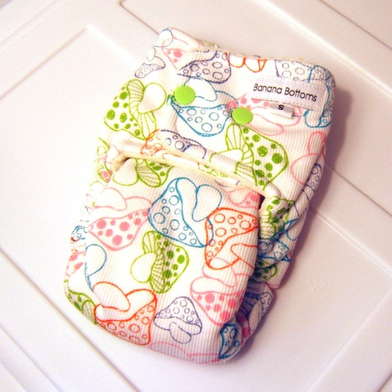 Small Eco Fitted Cloth Diaper with Bamboo Velour  with mushrooms