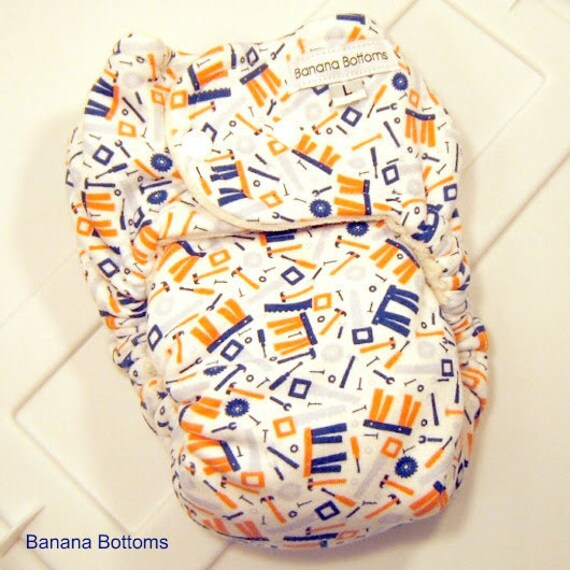 Large Bamboo Fitted Cloth Diaper with Tools print