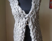 Hand Knit Unisex Vest Sleeveless Sweater in hand spun organic roving from Patagonia Open CALAFATE
