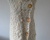 Reserved for MOHONDA Handknit Armless Hand spun Organic Raw Wool Sweater  Tank Vest with Mao Neckline Unisex PINCELES