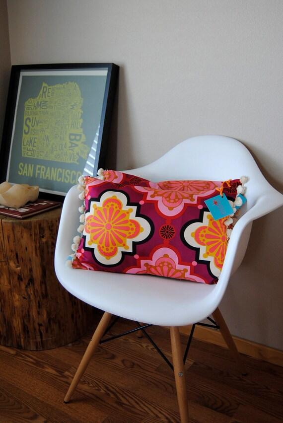 Special Edition-12x18 inch Free Spirit Fabrics Collage Pillow Cover w/Pom Pom Fringe