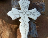 Ivory White Stone Cross -  Med.