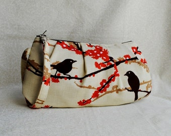 Pleated Wristlet Zipper Pouch // Clutch - Sparrows in Bark