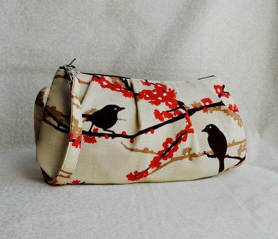 Pleated Wristlet Zipper Pouch // Clutch - Sparrows in Bark