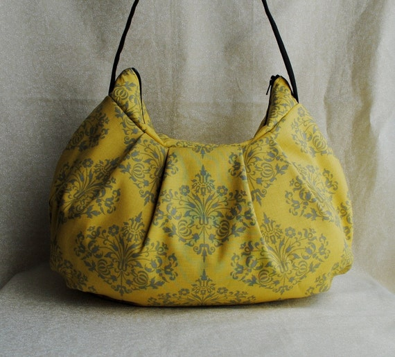 Pleated Bag // Shoulder Purse - Park Fountains in Mustard - Last One