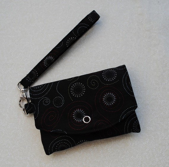 Mini Pouch w/ Removable Strap - Pirates, Dots in Black