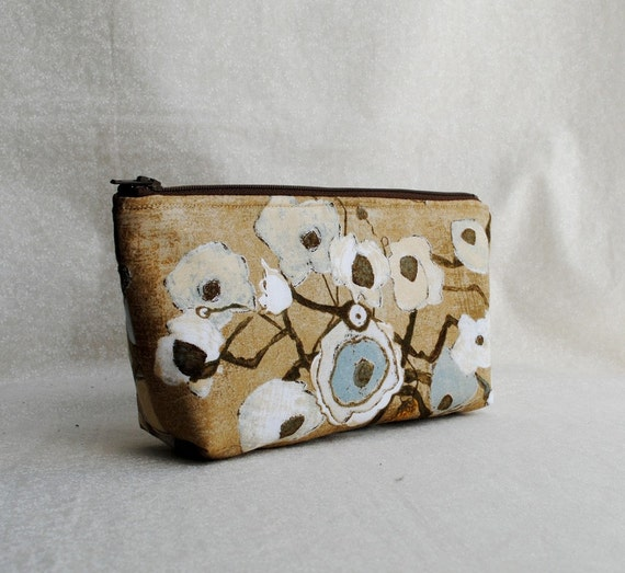Flat Bottom Cosmetic Pouch (Padded) - Large Poppies in Tan
