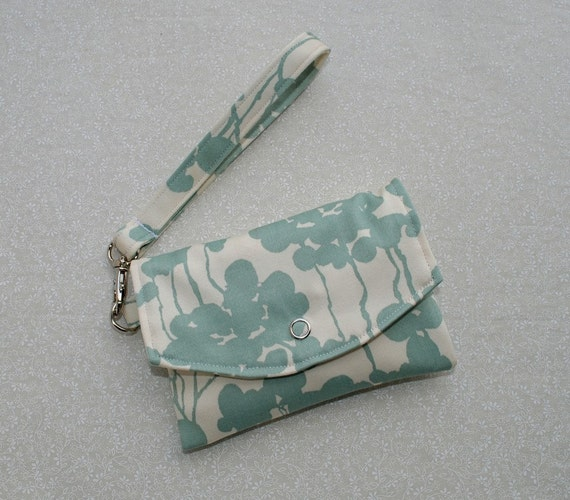 Mini Pouch // Smartphone Case w/ Removable Strap - Dogwood Floral Sateen