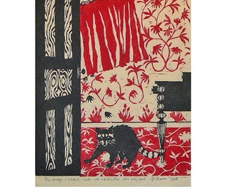 The Danger is Already Inside, Cute and Destructive, with wily paws...(woodblock print-red, black)