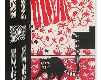 The Danger is Already Inside, Cute and Destructive, with Wily Paws... (woodblock print, salmon)