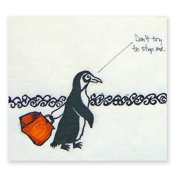 Penguin on a Mission (original woodblock print)