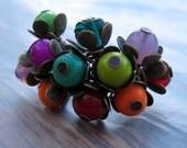 Multi Coloured Flower Bud Ring