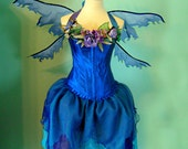 AUGUST SALE  - River Woodland Faerie costume with corset top - adult size Large - Butterfly Crown - Organza skirt and wings