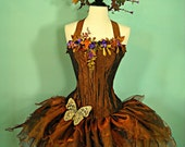 Copper Woodland Faerie - adult corset top fairy costume bust size 36 - 40
