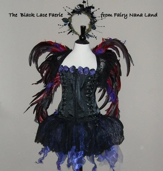 Items similar to Fairy Costume - DARK GOTHIC FAERIE- lace ...