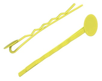 Yellow Bobby Pins with 10mm Pad (20) ON SALE