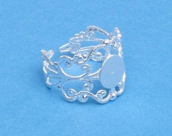 Silver Filigree Adjustable Ring Blank Bases (10)