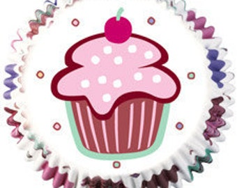 Mini Sized Cupcake Liners (100) White Pink Brown Birthday Wrappers