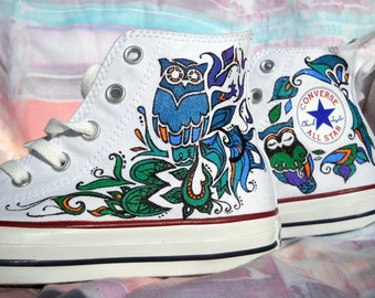 Owl Hand Painted Shoes
