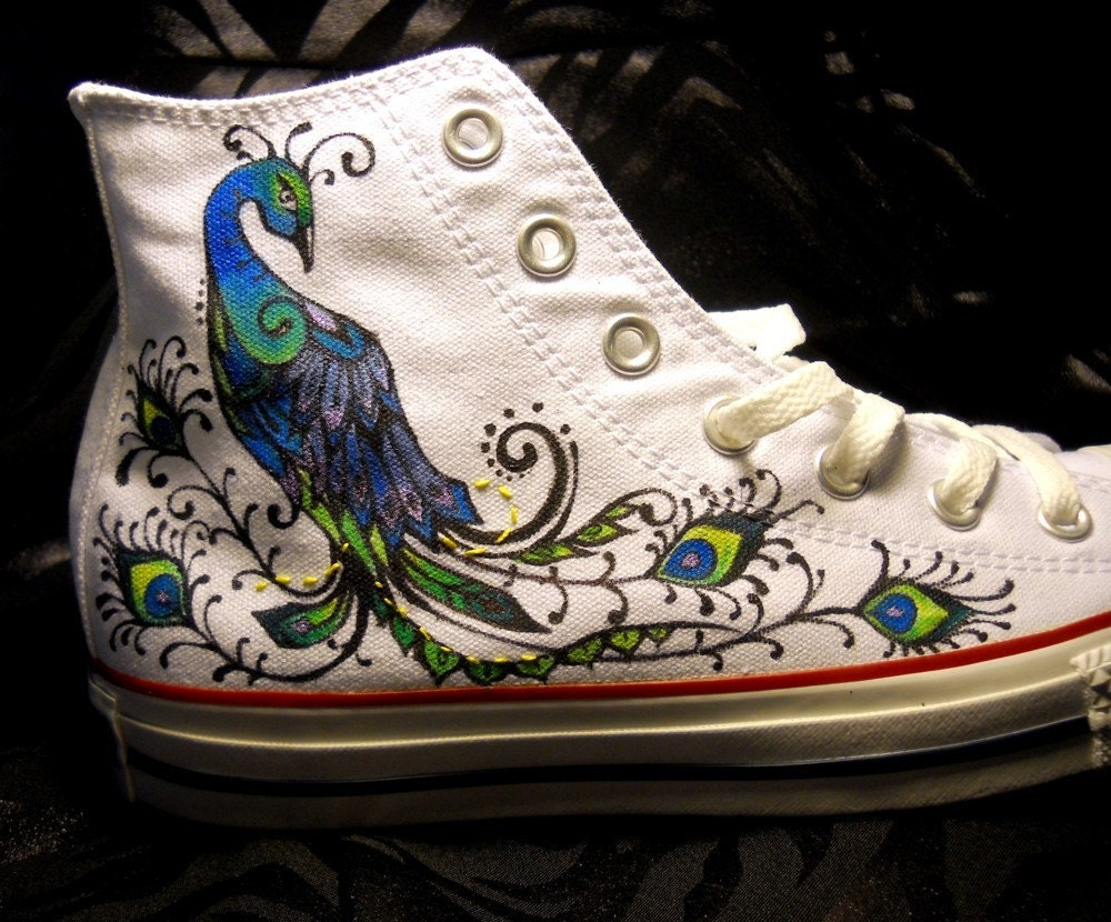 Hand Painted Peacock Converse