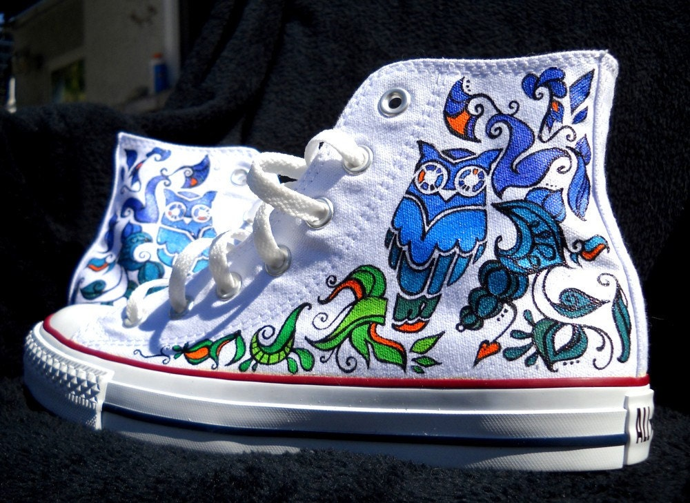 Hand Painted Converse Shoes Owl design by Marleed on Etsy