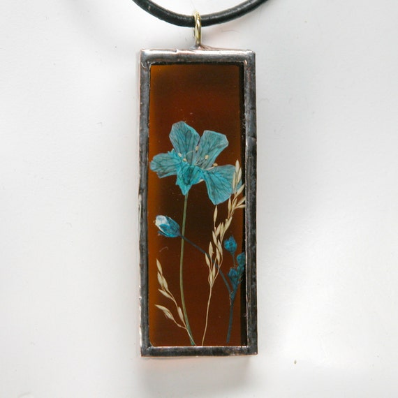 Stained Glass Pendant with Real Pressed Wildflowers and Copper Patina