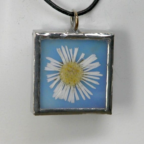 Stained Glass Pendant with Real Pressed Daisy Flower