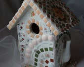 Romantic peaches and cream mosaic wedding tea bird house