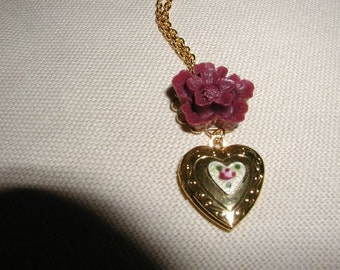 Burgundy Flower Heart Locket Necklace