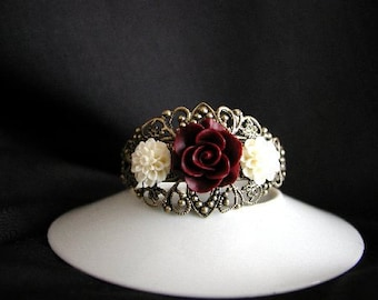 Beautiful Burgundy Rose and Cream Flower Bracelet , Bridesmaid, Wedding
