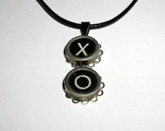 Vintage Typewriter Key Necklace X O Valentines Day