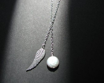 Pewter Angel Wing and Coin Pearl Lariat Necklace