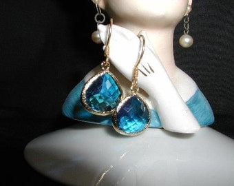 Royal Ice Blue Crystal Dangle Earrings
